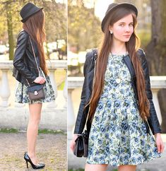 Ariadna Majewska - Romwe Black Leather Peplum Jacket, Chic Wish Blue Floral Retro Dress, Choies Tweed Small Bag With Chain, Persun Mall Black Pumps, Mohito Black Hat, L.O.L.A Watch Necklace - Springtime