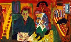 Ernst Ludwig Kirchner, Im Wohnzimmer. oil on canvas, 90 x 150 cm, Hamburger Kunsthalle. This painting was banned by the Nazi regime and exhibited at the Degenerate art exhibition in Munich in Emil Nolde, Ernst Ludwig Kirchner, Amedeo Modigliani, Edvard Munch, Dresden, Figure Painting, Painting & Drawing, Karl Schmidt Rottluff, George Grosz