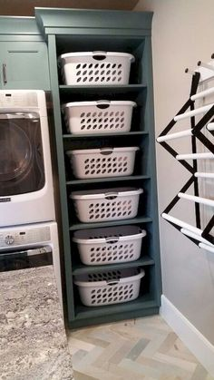 28 DIY Laundry Room Storage Center - The laundry room is an excellent place to experiment with design! Spectacular storage for small laundry room // laundry room storage small Laundry Room Remodel, Basement Laundry, Laundry Room Organization, Laundry Storage, Laundry Room Design, Laundry In Bathroom, Organization Ideas, Storage Ideas, Bathroom Plumbing