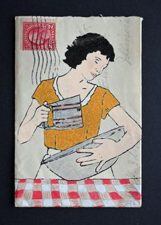 Sifter: Small Original Art on Antique Envelope in by Amy Rce