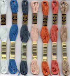 DMC 3756, 3760, 3768, 3774, 3776, 3778, 3782 six stranded embroidery floss at Raspberry Lane Crafts