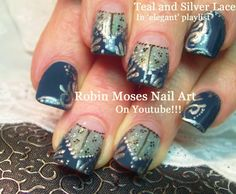 4 Nail Art tutorials | DIY Elegant Lace Nails | Sheer Teal & Silver Henn...