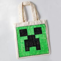 Minecraft Creeper Tote Bag DIY Project for Kids