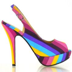 17751a1961487 Show Story Womens Sexy Stripe Peep Toe Slingback Platform Stiletto Shoes  Platform Stilettos
