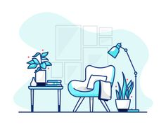Reading Corner by Vy Tat Outline Illustration, Flat Design Illustration, Business Illustration, Portrait Illustration, Illustration Sketches, Digital Illustration, Simple Cartoon, Sticker Design, Logo Design