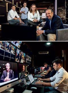 Sandro Magaldi (de paletó, acima) e a equipe de produção do MeuSucesso.com: investimento de R$ 6 milhões para contar, em seis episódios, a vida e os desafios de empreendedores famosos  (Foto: Fabiano Accorsi)