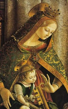 carlo crivelli italian artist c 1430 1495 madonna and child Religious Images, Religious Icons, Religious Art, Madonna Und Kind, Madonna And Child, Blessed Mother Mary, Blessed Virgin Mary, Renaissance Paintings, Renaissance Art