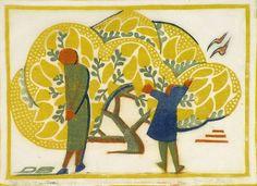 Dorrit Black _ The wattle tree (1933) Technique: linocut, printed in colour, from four blocks (yellow, orange, grey-green, cobalt blue)