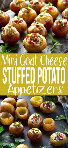 These Greek-Inspired Mini Goat Cheese Stuffed Potato Appetizers Are Fantastic For Entertaining. One Filling Is Sweet, The Other Savory. Both Are Addictive 79 Calories And 3 Weight Watchers Freestyle Sp Easy Parties Finger Foods Mini Fancy Potato Appetizers, Fancy Appetizers, Finger Food Appetizers, Holiday Appetizers, Appetizer Recipes, Vegetarian Finger Food, Savoury Finger Food, Vegetarian Appetizers, Tapas