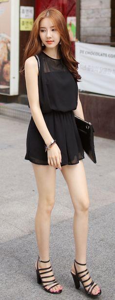 Luxe Asian Korean Women Fashion Black Day Beads Black Jumpsuit