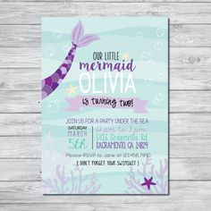 Mermaid Birthday Invitation, Under the Sea Kids Birthday Party Invitation, Digital Invite