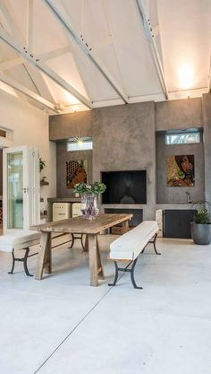 Cemcrete Search by Room - Outdoor Areas - Cemcrete Outdoor Fireplace Designs, Home Fireplace, Backyard Fireplace, Outdoor Fireplaces, Outdoor Kitchen Design, Patio Design, Outdoor Kitchens, Outdoor Areas, Outdoor Patios