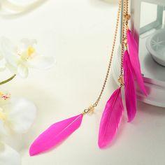 feather earings | Boho Feather Earrings - Natural Fuchsia Feather Tassel Dangle Earrings ...