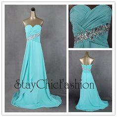 Aqua Long Ruched Top Rhinestone Beaded Waist Chiffon Formal Dress