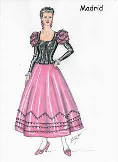 COLECCION TRAJES REGIONALES DE ESPAÑA - MADRID (GOYESCA) Running Of The Bulls, 1800s Fashion, Spanish Fashion, Disney Coloring Pages, Regional, Historical Costume, Traditional Outfits, Aurora Sleeping Beauty, Culture