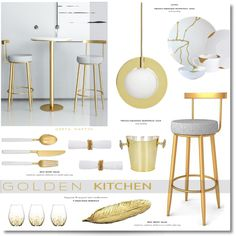 Fashion set G O L D E N - Kitchen ... 2020 created via Gold Kitchen, Creative Home, Art Decor, Home Decor, Place Card Holders, Table, Furniture, Design, Fashion