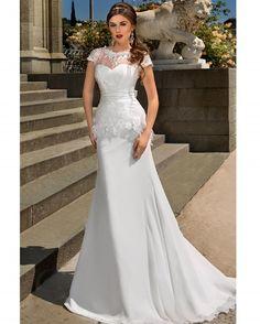 Luxury White Mermaid Lace Wedding Dress Big Bow Back Zipper Chiffon Short Sleeve Vestido De Noiva Romantic Robe De Mariage Dress