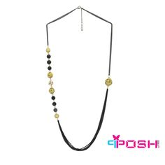 POSH Sonia - Necklace - Chains with non-symmetrical beauty necklace - Black and gold colour  - Dimension: 85cm + 5cm extending chain  POSH by FERI - Passion for Fashion - Luxury fashion jewelry for the designer in you