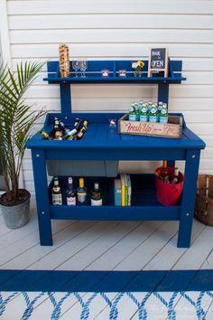 Outdoor Potting Bench Turns DIY Bar Cart. A Metamorphosis