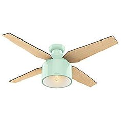"Hunter Fan Company 59260 Cranbrook Low Profile Mint Ceiling Fan With Light & Remote, 52"" - - Amazon.com"
