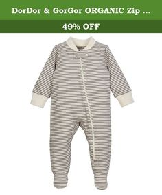 DorDor & GorGor ORGANIC Zip Front Sleep 'N Play, Unisex Baby Footed Pajamas, Cotton (18-24 Month, Gray striped). Product Description: 100% GOTS Certified Organic Cotton. Pesticide-free, bleach-free & chemical-free. Zero Chemical Color Dye. Cotton gets even softer after 3 washes. Machine wash warm, tumble dry low. Model#: BMP009. Our super soft footsie pajama onsie is comfortable, cozy, and warm. With long sleeves, ribbed cuffs, neck, snap button collar, and zipper lining for extra…