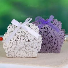 Butterfly Theme Favor Boxes With Ribbons (Set of 12) (050046727)