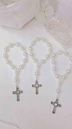 Items similar to DOZEN Beautiful glass pearl Rosary bracelets. Perfect for first communions, and wedding favors. Baptism Favors, Baptism Party, Baptism Banner, First Communion Party, First Holy Communion, Beaded Jewelry, Handmade Jewelry, Rosary Bracelet, Beaded Cross