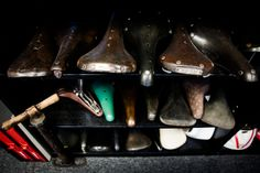 Bryne's museum surely evokes envy for fans of vintage leather saddles. It includes multiple early Brooks' B15 and B17 models, handcrafted at the factory in England, where Brooks saddles are still made today.