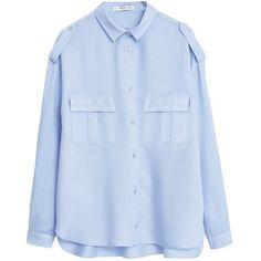 Mango Modal Shirt , Light Pastel Blue ($52) ❤ liked on Polyvore featuring tops, blouses, light pastel blue, extra long sleeve shirts, longsleeve shirt, long sleeve tops, long sleeve shirts and modal shirts