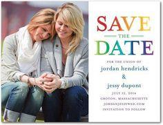 Lesbian wedding ideas | ... the Date Postcards - Bright Title by Wedding Paper Divas on Wanelo