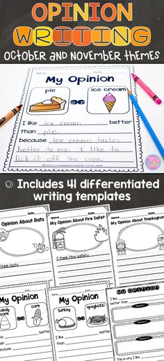 Children love to voice their opinions about everything, and these 41 differentiated opinion writing templates will surely excite and engage them! The topics are interesting and relevant to young learners. Students will state their opinion about a variety of topics, supply a reason (or two or three) for their opinion, and provide a sense of closure.