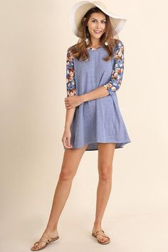 Blue Floral Print Sleeve Dress
