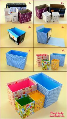 Paint the inside of the boxes - Add a plastic box * makes sure it fits* Cover the outside with gift wrap or material - Add gifts ie - slippers, pj's , ( Toys & Sweets ) etc for the perfect gift. Diy Crafts Hacks, Diy Crafts For Gifts, Diy Home Crafts, Creative Crafts, Crafts For Kids, Diy Projects, Diys, Diy Storage Boxes, Desk Organization Diy
