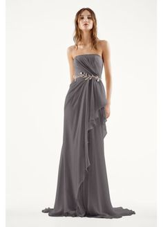 White by Vera Wang Strapless Chiffon Wedding Dress - This ethereal crinkle chiffon column gown with asymmetrical Designer Wedding Gowns, Wedding Dresses For Sale, Colored Wedding Dresses, Wedding Gown Preservation, Vera Wang Wedding, White By Vera Wang, Column Dress, Bridal Style, Strapless Dress Formal