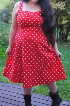 Heart dress from old cotton curtains