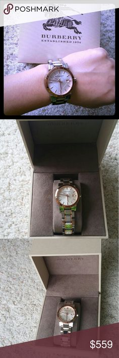 Ladies Burberry Authentic watch Beautiful silver and gold tone Burberry watch. Coming with box, worn few times. Needs battery. Burberry Accessories Watches