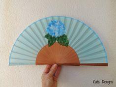 Pale Blue Hydrangea Flower Bouquet Spray Wooden Hand Fan Hand-held Folding Flamenco Fabric Fan by Kate Dengra Spain by DengraDesigns on Etsy