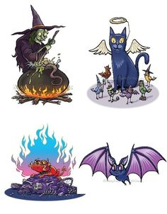 Halloween Fun Collection I ~ 4 Cross Stitch Patterns ~ PDFs on CD~Color & BlkWht #StoneyKnobFarmHeirlooms #Frame