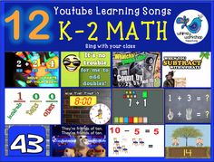 12 fun math sing-alongs that teach math concepts such as place value, skip counting by 2, 5, and 10, telling time, subtraction and addition, and friends of 10! Perfect for math time in a K-1 classroom! http://whimsyworkshop.blogspot.ca/2013/11/12-math-youtube-songs-for-math-k-1.html