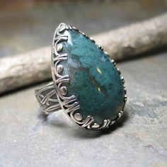 statement ring moss agate nature jewelry metalsmith artisan