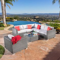 Patio Furniture Sets - Francisco Outdoor 7piece Grey Wicker Seating Sectional Set with Cushions *** Be sure to check out this awesome product. (This is an Amazon affiliate link)