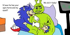 I ship Sonic with Amy and Shrek with Fiona!!