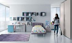 Girls bedroom design with cubic wall shelves, storage and decorating ideas