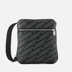 Get Emporio Armani Men's Allover Logo Cross Body Bag - Black now at Coggles - the one stop shop for the sartorially minded shopper. Armani Men, Emporio Armani, Satchel, Crossbody Bag, Petite Fashion Tips, Messenger Bag, Logos, Flat, Bass
