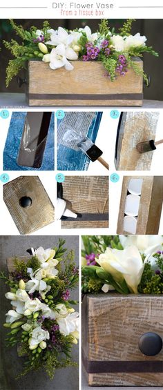 diy wedding centerpiecies from tissue box for rustic wedding ideas