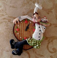 Watch Happy Chef of salt dough. Cute Polymer Clay, Polymer Clay Dolls, Polymer Clay Creations, Diy Clay, Clay Crafts, Paper Crafts, Cold Porcelain Tutorial, Salt Dough Crafts, Art Drawings For Kids