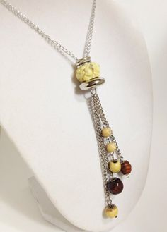 Charm necklace Silver tan and brown long by CelestialCreations4u, $20.00