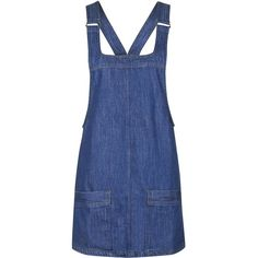 TOPSHOP MOTO Vintage Denim Pinafore Dress ($54) ❤ liked on Polyvore featuring dresses, mid stone, henley dress, blue pinafore dress, women dresses, topshop dresses and vintage day dress
