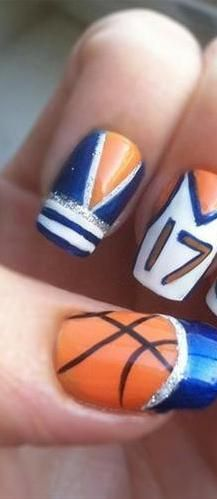 Super easy basketball nails got a really good idea to go with basketball nail art getting my ideas together for warrior basketball season prinsesfo Choice Image