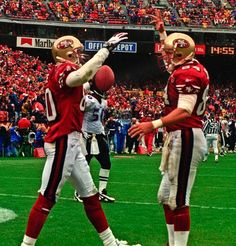 Brent Jones (#84) and Jerry Rice (#80) 49ers